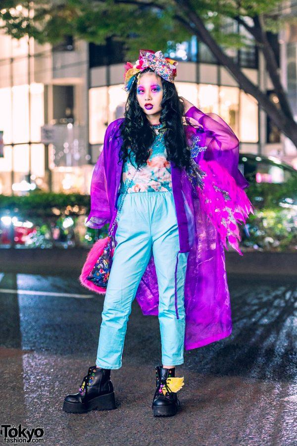 Kawaii Tokyo Street Style w/ Colorful Makeup, Takenoko Sheer Kimono, ACDC Rag, WEGO Wing Boots & 6%DOKIDOKI Fuzzy Sling