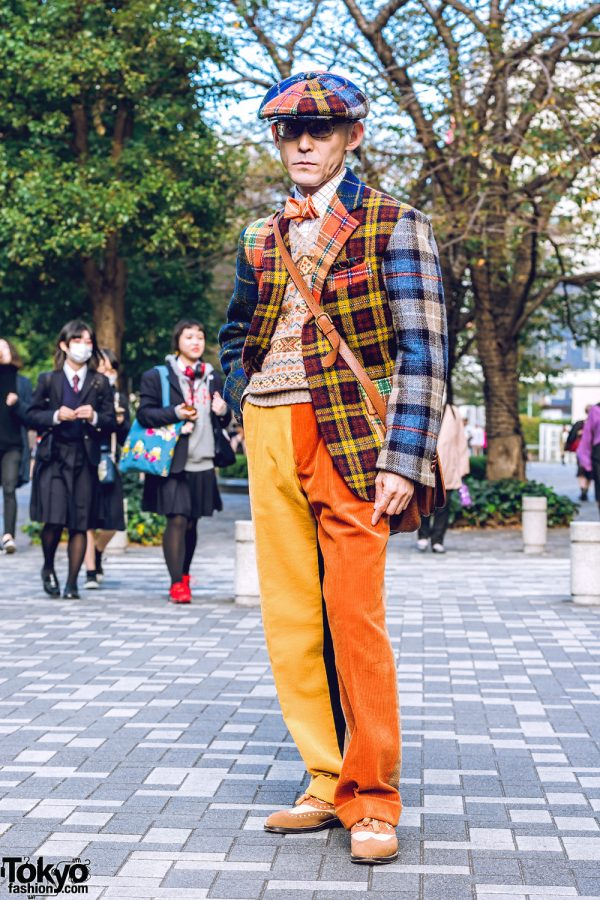 Retro Plaid Menswear Street Style in Tokyo w/ Brick Mens Clothing Sendai, Wingtip Shoes, Mickey Mouse Watch & Tanizawa Ginza Leather Bag