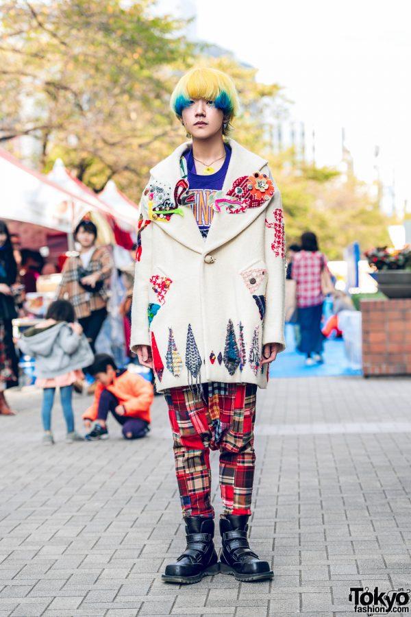 Nozomi Ishiguro Embroidered Coat, Red Plaid Pants, HEIHEI Top & Vintage Accessories
