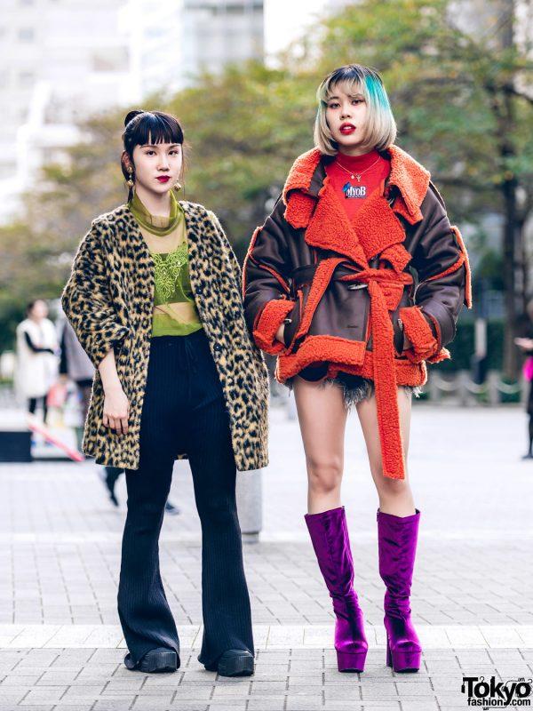 Tokyo Girls Streetwear w/ MYOB NYC Shearling Jacket, Leopard Print, UNIF, Flare Pants & Office Kiko Purple Boots