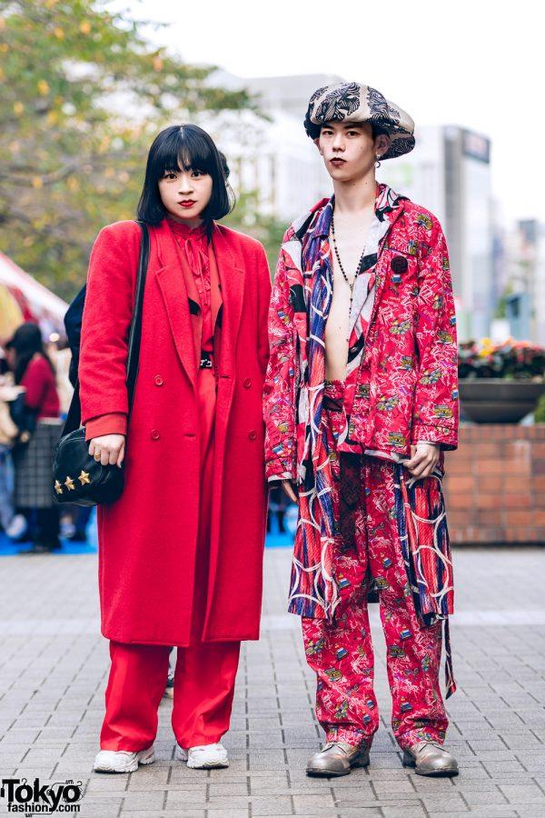 All Red & Mixed Prints Tokyo Street Styles w/ Christopher Nemeth Rope Print, Mihara Yasuhiro & Vintage Fashion