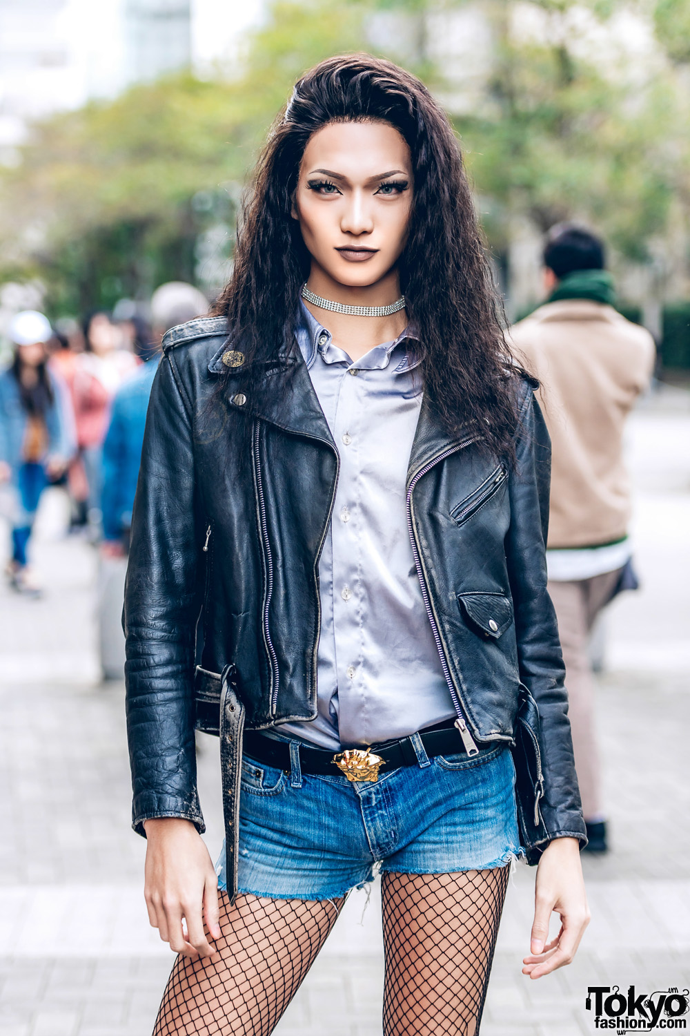Beauty Student W Black Leather Jacket Jean Shorts