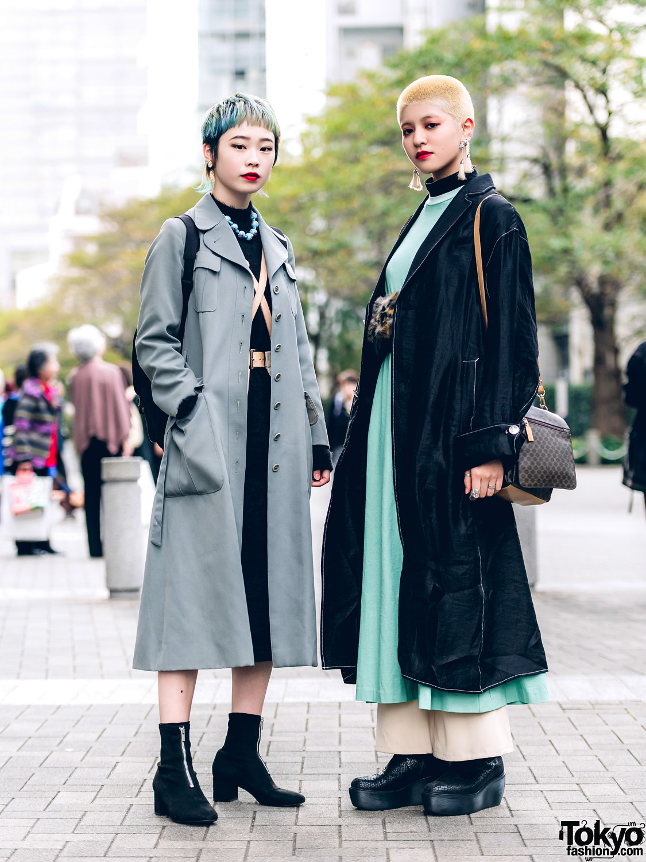 Chic Tokyo Girls Streetwear Styles & Short Hairstyle w/ GVGV Coat, Toga Japan Dress, Harness & Snakeskin Platform Boots