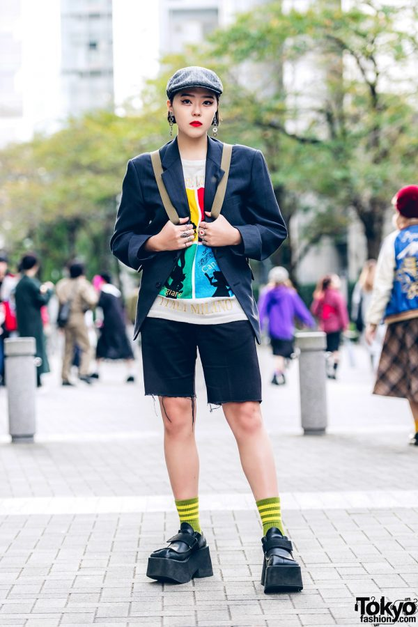 Harajuku Girl in Vintage Streetwear Style w/ Newsboy Cap, Pinstriped Blazer, Dickies Shorts & Mary Quant Backpack