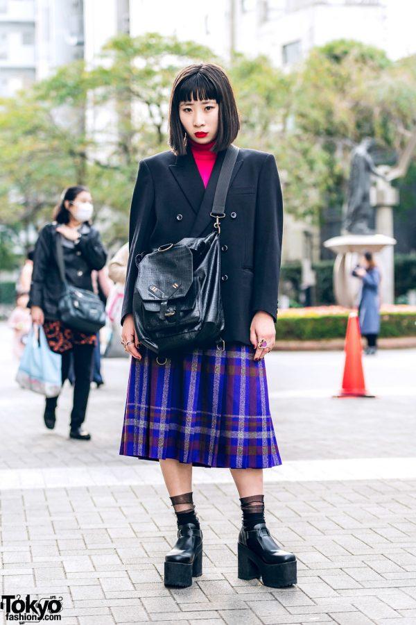Blazer Over Turtleneck Top, Pleated Plaid Skirt, Bubbles, 4C, ME Harajuku & Jean Paul Gaultier Bag