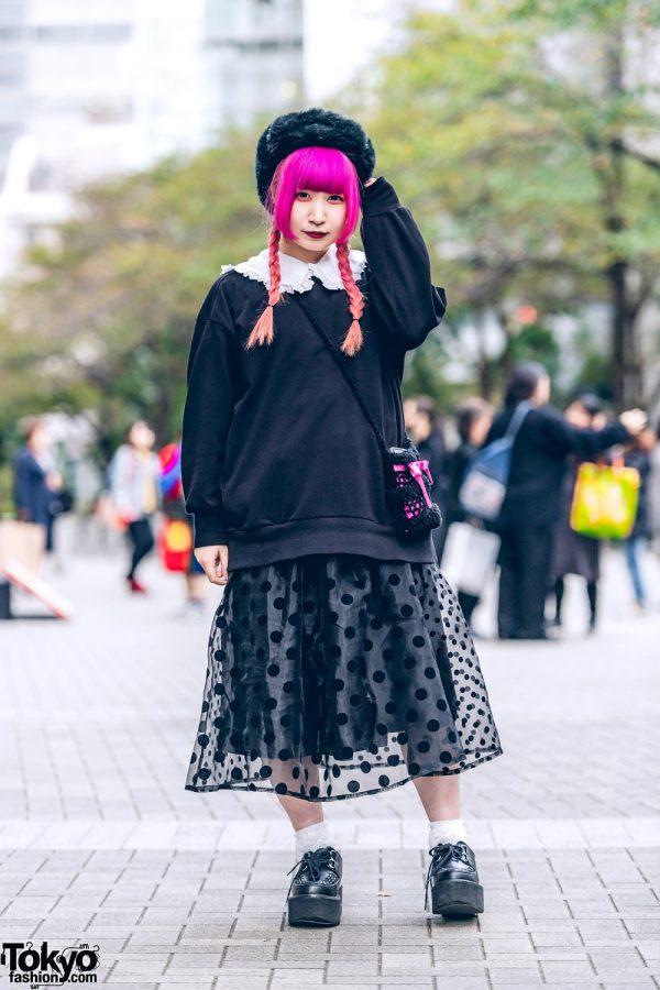 Lace Ruffle Tokyo Street Style w/ Twin Pink Braids, Furry Hat, Ruffle Collar Blouse, Merry Jenny Polka Dot Skirt & Yosuke Creepers
