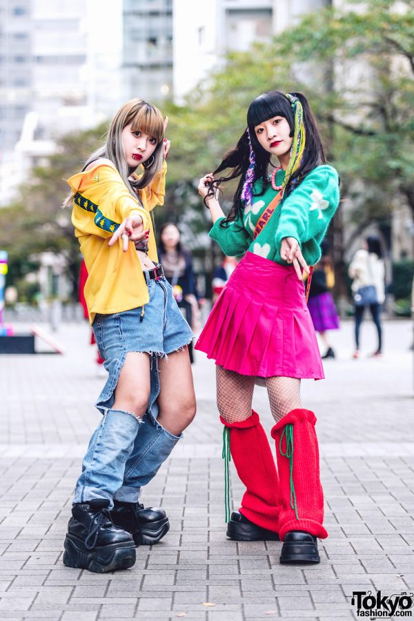 Tokyo Girls Colorful Street Styles w/ Rainbow Hair Falls, Peco Club, Kappa, Y-3, Oh Pearl, Remake Fashion & Demonia Platforms