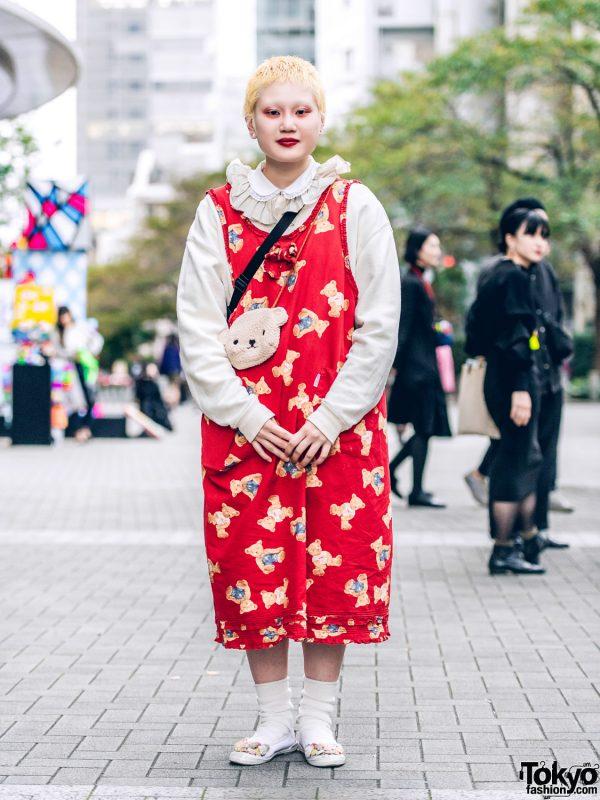 Fashion College Student w/ Cropped Blonde Hair, Pink House Teddy Bear Print Dress, Plush Bear Bag & Kiki2 Floral Shoes