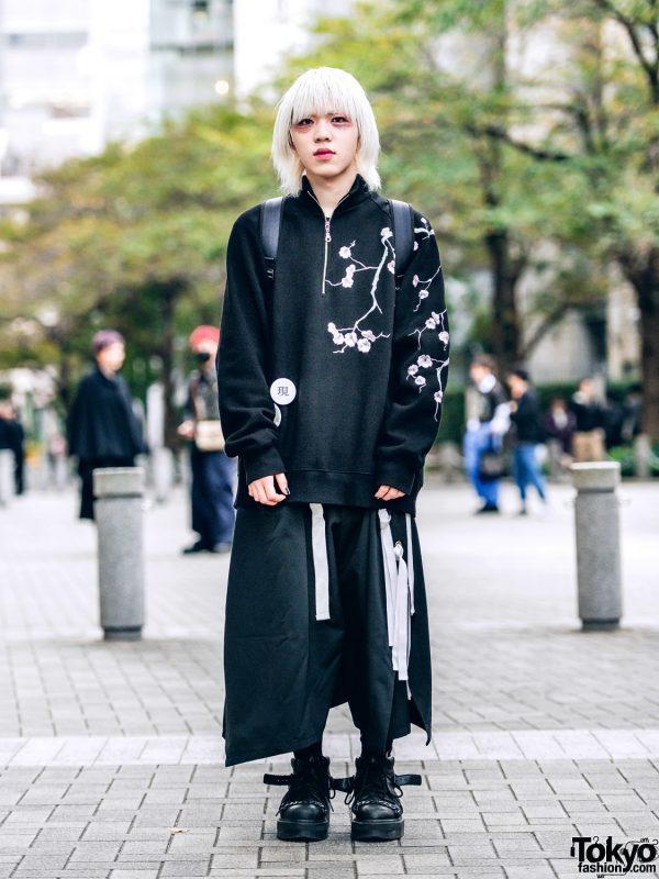 Tokyo Mens Streetwear w/ Blond Hair, Glitter Makeup, Hoyajuku Pants, Dr. Martens Boots & Kenzo Backpack