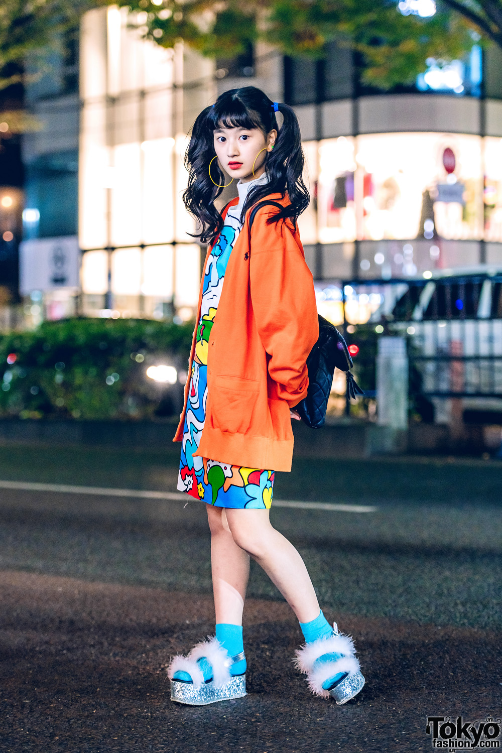Japanese Model in Harajuku w/ Curly Twin Tails, Ralph Lauren Cardigan, Vintage Dress, WEGO Fuzzy Platform Sandals & Quilted Backpack