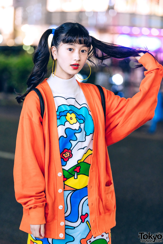 Japanese Actress in Harajuku w/ Colorful Retro Vintage