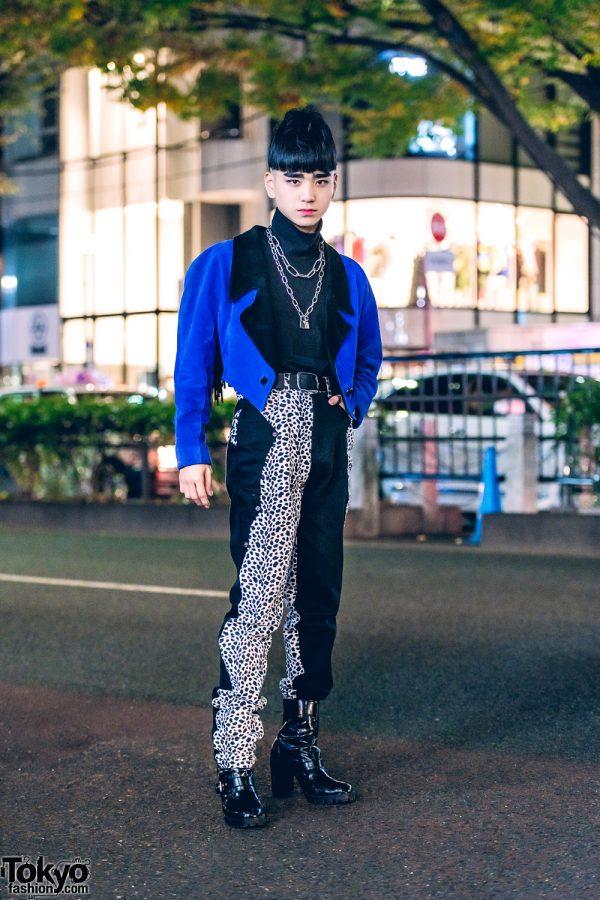 Retro Vintage Streetwear Style in Harajuku w/ RRR Vintage Tuxedo Jacket, Leopard Print Pants, UNIQLO Turtleneck Top & Heeled Boots
