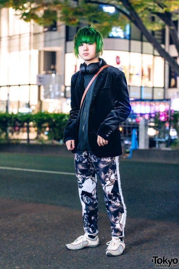 Harajuku Guy w/ Green Hair, Vintage Blazer, Paul Smith Jacket, Balmung Printed Pants & Prada Sneakers