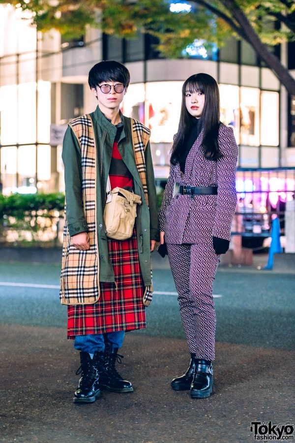 Mixed Prints Japanese Street Styles w/ Burberry Plaid, Geometric Suit, Levi's, Dr. Martens, Hermes & Bagolo Bag
