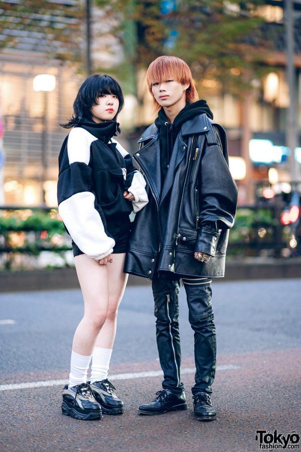 Monochrome Harajuku Street Styles w/ Cowl Neck Jacket, Bubbles, Nadia, MISBHV Leather Jacket, 99%IS-, Tokyo Human Experiments & George Cox