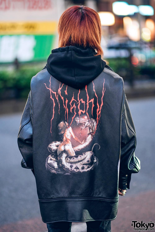 Monochrome Harajuku Street Styles W Cowl Neck Jacket