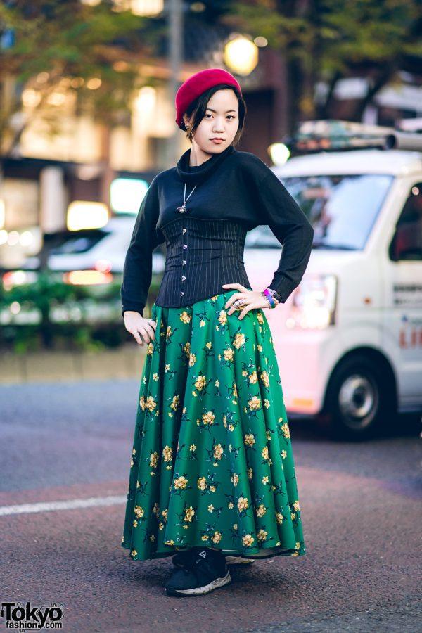 Vintage Harajuku Street Style w/ Cowl Neck Sweater, Pinstripe Corset, Floral Print Maxi Skirt, Reebok Sneakers & Vivienne Westwood