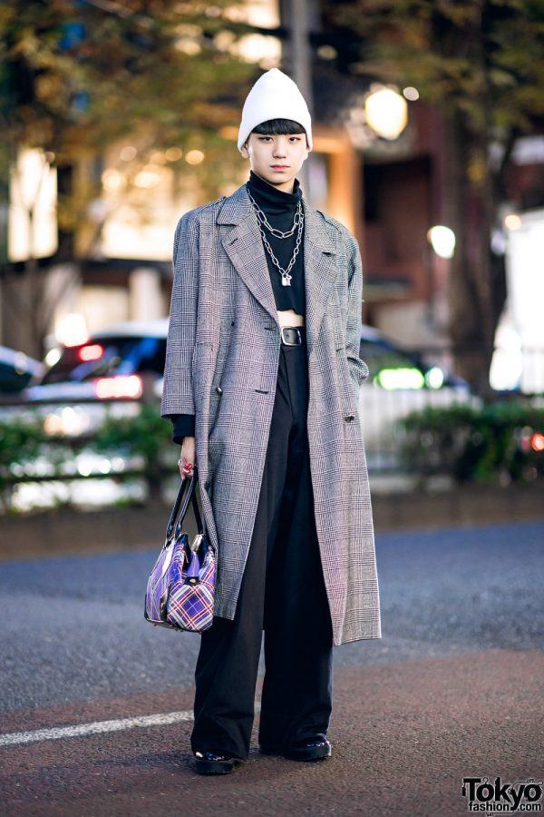 Harajuku Guy's Winter Street Style w/ Vintage Houndstooth Maxi Coat, UNIQLO Cropped Turtleneck, John Lawrence Sullivan & Vivienne Westwood