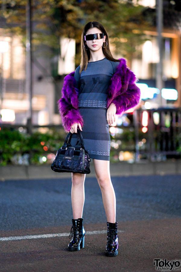 Harajuku Street Style w/ Futuristic Wrap Around Sunglasses, Cropped Faux Fur Jacket & Alexander Wang x H&M Dress