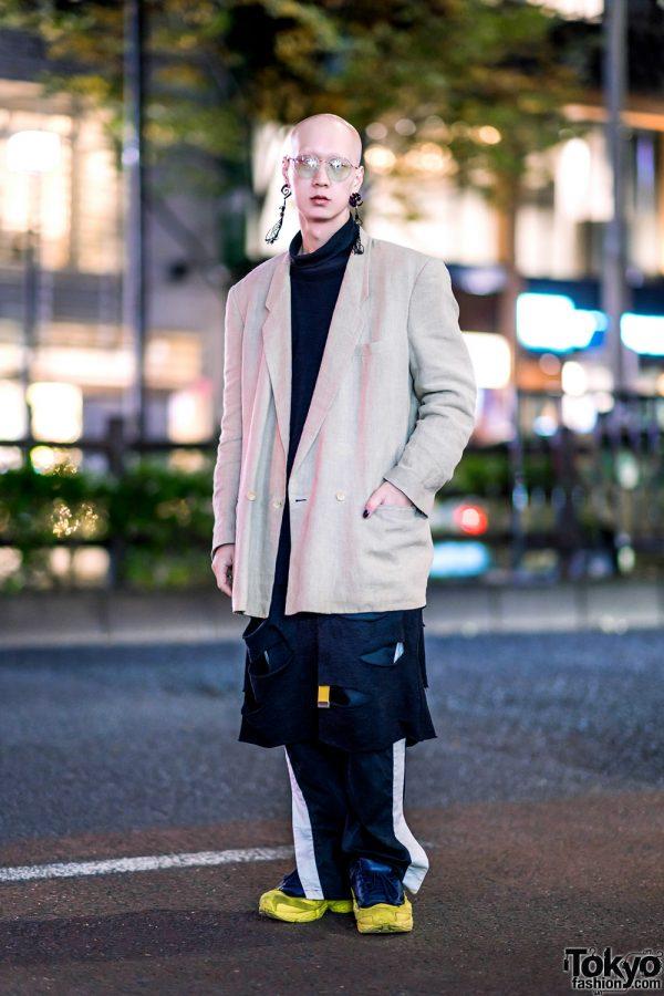 Sleek Tokyo Menswear w/ Horned Tassel Earrings, Comme des Garcons Linen Blazer, Long Turtleneck Shirt, Nozomi Ishiguro Pants & Raf Simons Sneakers