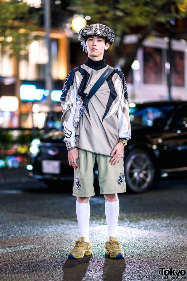 Harajuku Streetwear Style w/ Studded Ear Cuff, Fox, Christopher Nemeth Newsboy Cap, A-Cold-Wall Bag & Raf Simons x Adidas Sneakers