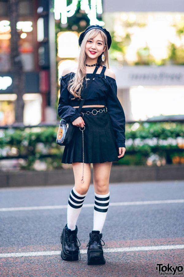 Chic Black Harajuku Girl Street Style w/ Crank Crop Top, WEGO Pleated Skirt, Demonia Platforms, (ME)Harajuku & WC Harajuku