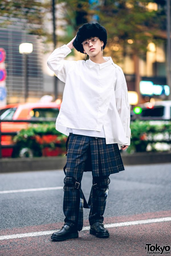 Harajuku Plaid Style w/ Hare Asymmetric Shirt, Plaid Bondage Pants w/ Skirt Panel, Buckle Shoes & Fuzzy Hat
