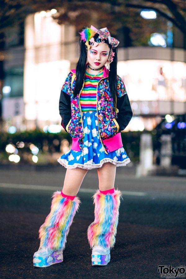 Kawaii Harajuku Street Style w/ Furry Leg Warmers, 6%DOKIDOKI Prints, WC, Kiki2, Claire's & YRU