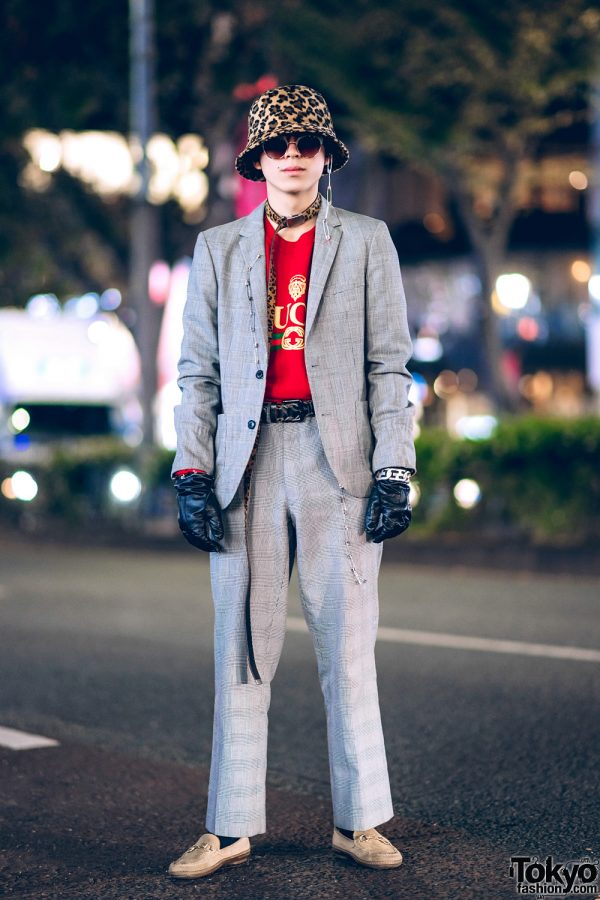 Tokyo Streetwear Style w/ Leopard Print Hat, Houndstooth Suit, Leather Gloves, Safety Pins, Diesel Braided Belt, Gucci Shirt & Suede Loafers