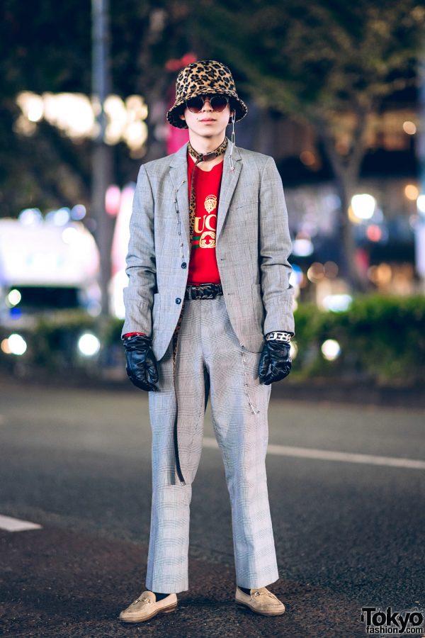 Tokyo Streetwear Style W Leopard Print Hat Houndstooth