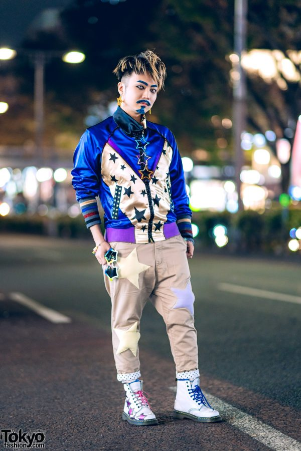 Japanese DJ in Harajuku w/ Glitter Makeup, Malko Malka Satin Star Jacket, Star Pants, Dr. Martens Star Boots & 6%DOKIDOKI Star Accessories
