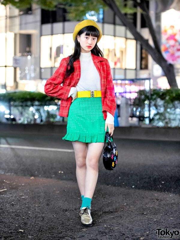 Japanese Actress in Harajuku w/ Colorful Retro Vintage Street Style, G2? & Chanel