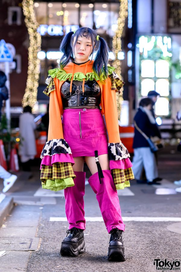 Harajuku Girl in Handmade Flare Top, Patent Bustier, Cow Print, Pink Skirt & Demonia Platforms