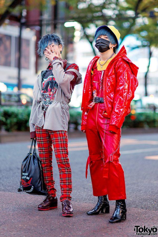 Harajuku Menswear Street Styles w/ Patent Red Puffer Jacket, Plaid Pants, Face Mask, Kawi Jamele & Oh Pearl