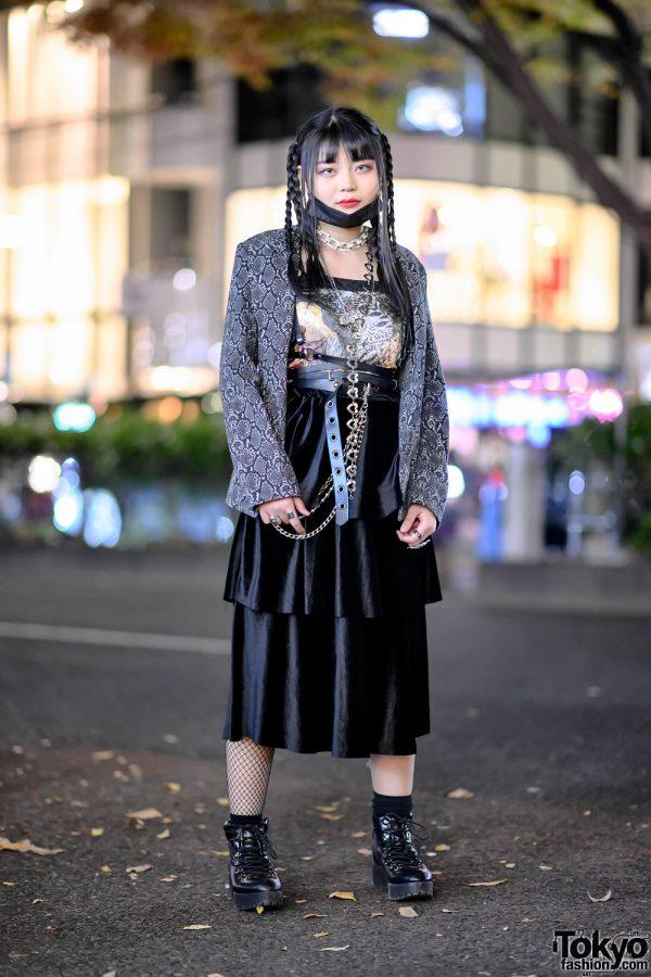 Snakeskin Print Jacket, Face Mask, Leather Harness Belt, Platform Boots & Silver Rings in Harajuku