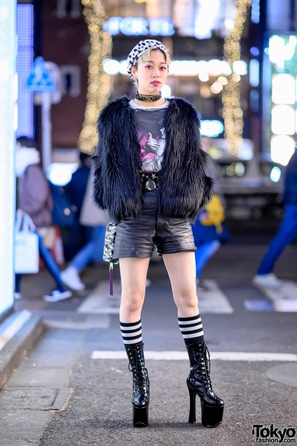 Harajuku Girl w/ Faux Fur Coat, Anna Sui x Marc Jacobs Bag & Moschino & H&M Choker