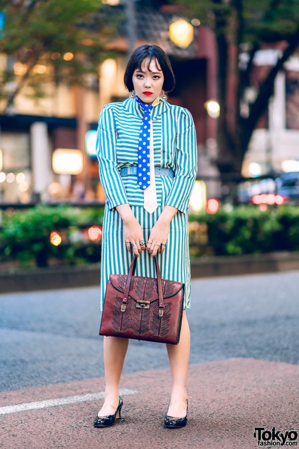 Patterned Harajuku Streetwear Style w/ Double Neckties, Vintage Striped Dress, Satchel Handbag & Patent Pumps