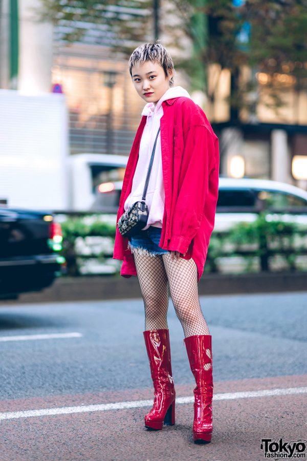 Tokyo Streetwear Style w/ Pixie Hair, Hoodie Sweater, Fringed Denim Shorts Over Fishnets, OK Cutout Boots & Coach Crossbody Bag