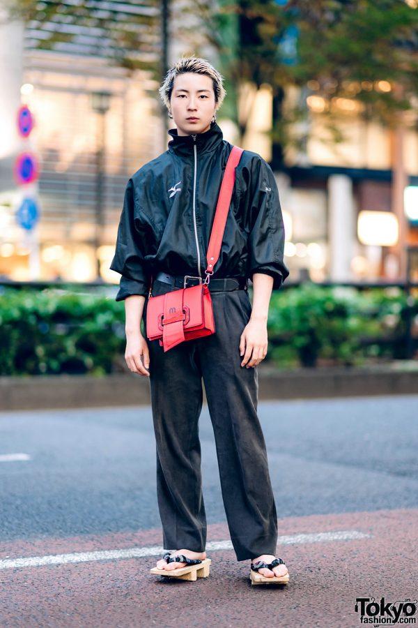 All Black Street Style in Harajuku w/ Mizuno Jacket, Suede Pants, Crossbody Bag & Geta Sandals