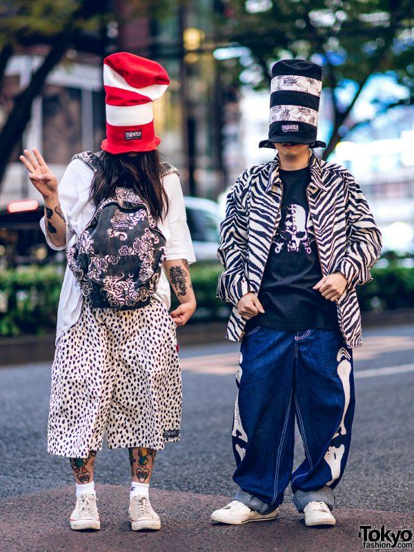 Buttstain Anti Fashion Street Styles in Harajuku w/ Tall Striped Top Hats, Polka Dot Shorts, Zebra Jacket, Dragon Backpack & Converse Sneakers