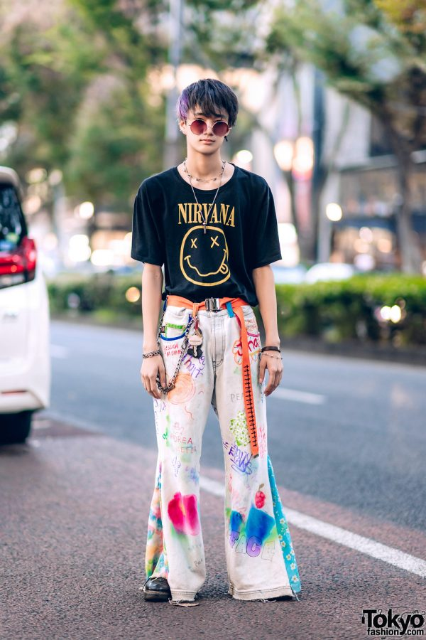 Tokyo Street Style w/ O.Well Kitakoshigaya Nirvana Shirt, Handpainted JNCO Jeans & Dr. Martens Shoes