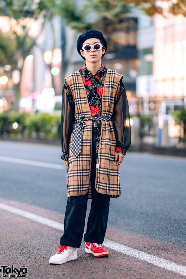 Mixed Prints Street Style in Harajuku w/ Burberry Coat Liner, Floral Shirt, Hugo Boss, Kangol & Nike Mismatched Sneakers