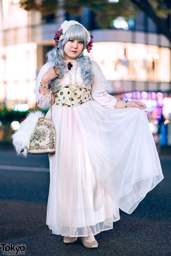 Harajuku Vintage & Handmade Lolita Fashion w/ Grapes Headdress, Pays Des Fees, Nice Claup & Milk