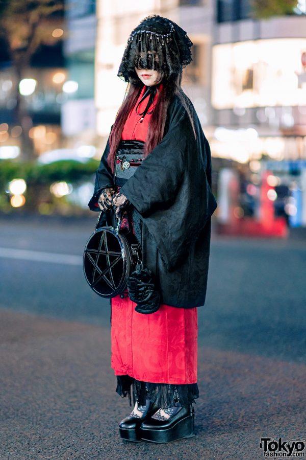 Japanese Vintage Kimono Gothic Street Style w/ Veil Headdress, Lace Gloves, Platforms & Kill Star Bag