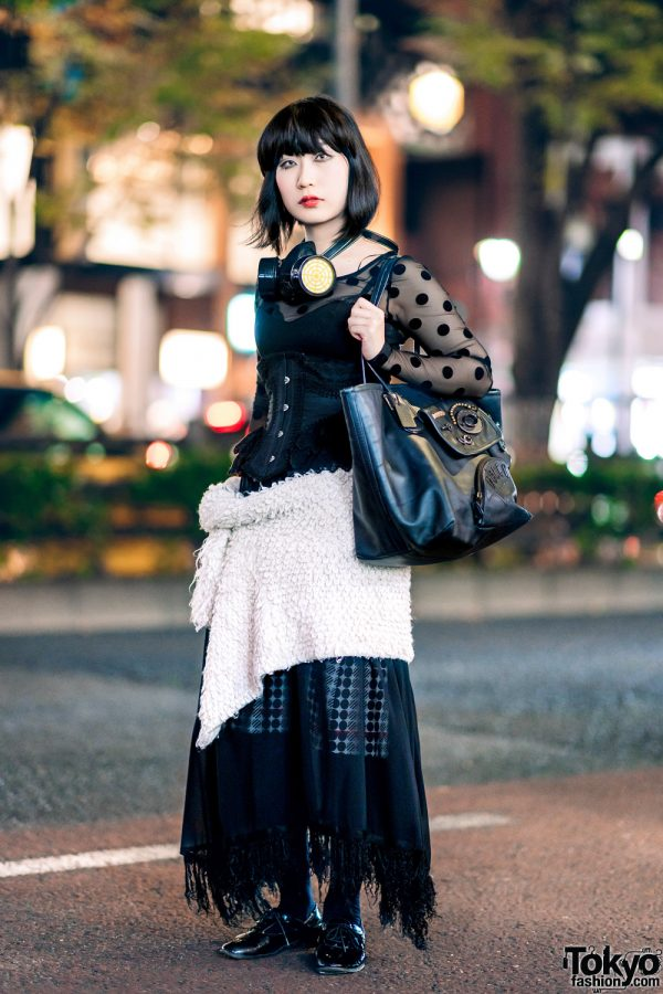Dark Harajuku Street Fashion w/ Gas Mask, Abilletage Corset, Coach Bag & Jean Paul Gaultier