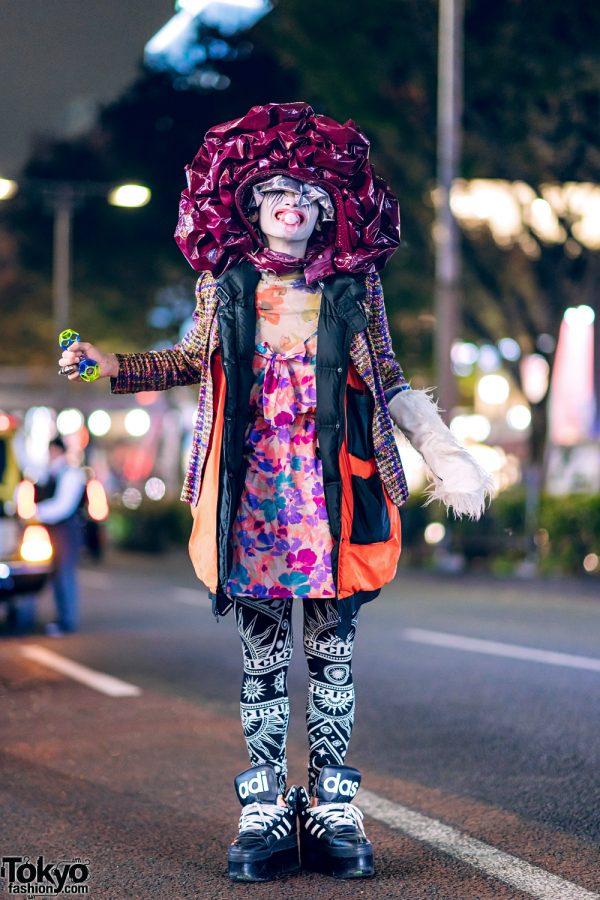 Harajuku Fashion Designer in Avant-Garde Streetwear Style w/ Layered Jackets, KTZ Leggings, Adidas Platform Sneakers & Statement Hat