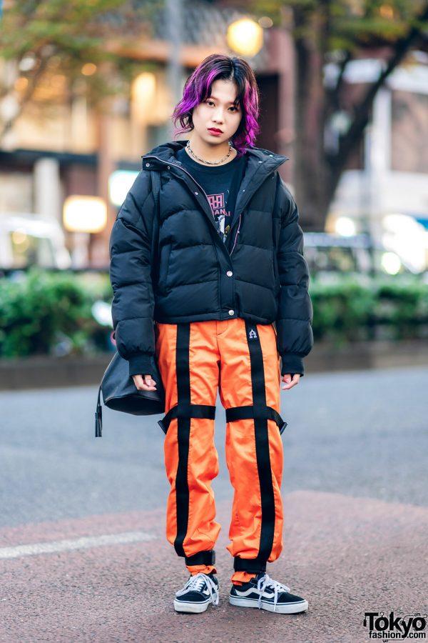 Tokyo Winter Street Style w/ Purple Hair, Jouetie Puffer Jacket, Orange Strap Pants, Barbed Wire Necklace, Bucket Bag & Vans Sneakers