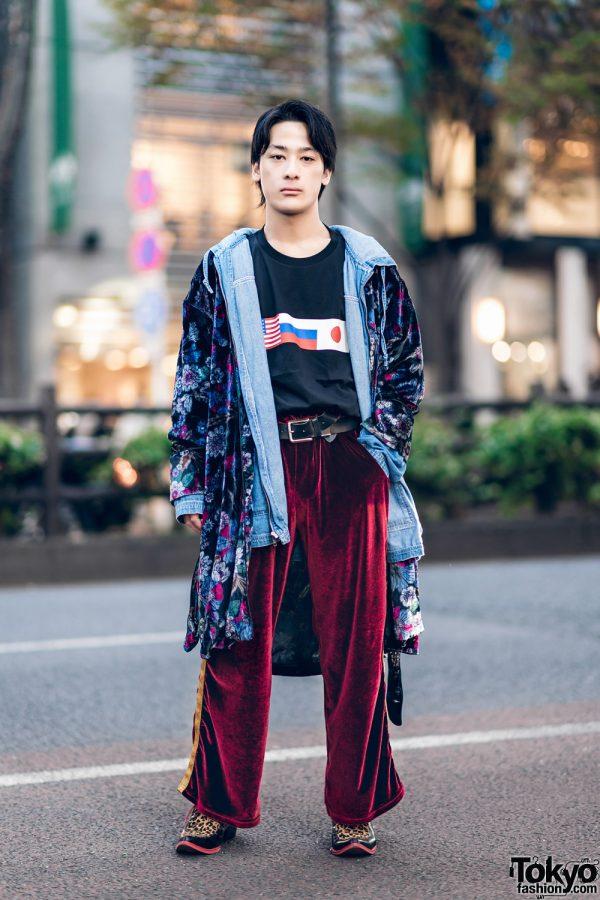 Harajuku Street Style w/ Floral Robe, Jeanasis Denim Hoodie Jacket, Gosha Rubchinskiy Flag Shirt & Yosuke Leopard Print Pointy Loafers