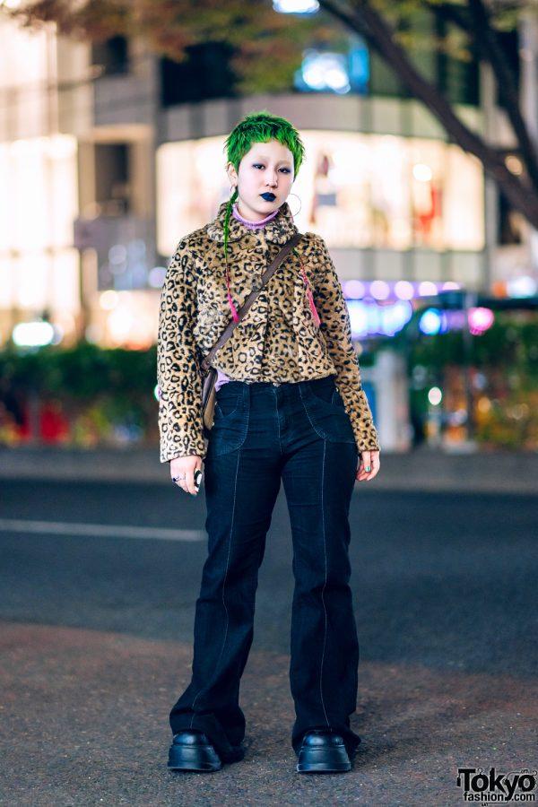 Tokyo Vintage Streetwear Style w/ Green Pixie Hair & Braided Tails, Furry Leopard Jacket, Dark Denims, Demonia Platforms & Burberry Crossbody Bag