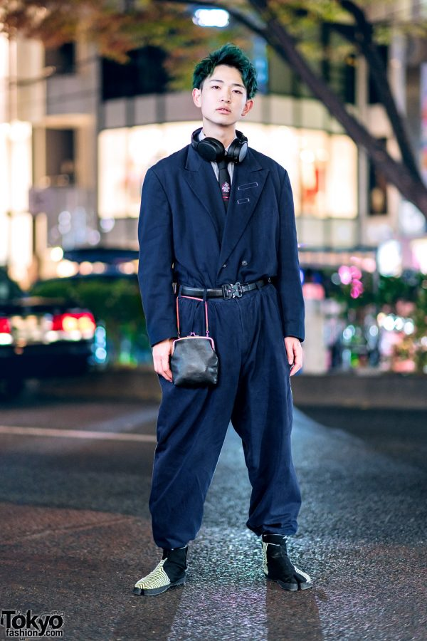 Harajuku Mens Streetwear Style w/ Comme des Garcons Jumpsuit, Dior Homme Necktie & Sou Sou Tabi Shoes